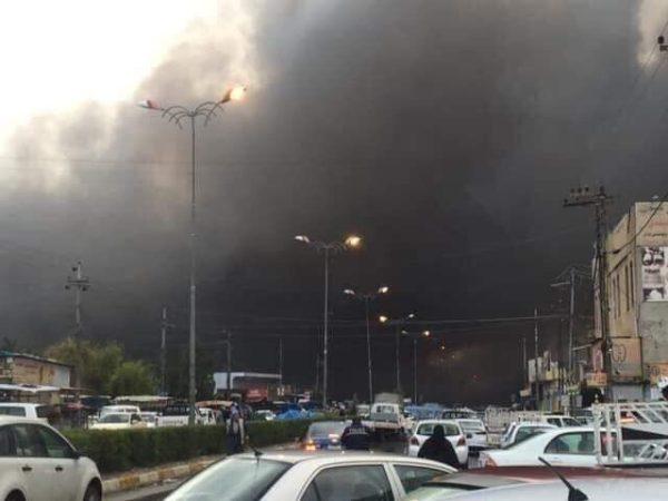 Photo of بالصور  حريق هائل يلتهم سوق اللنكة (البالة) في اربيل