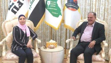 Photo of امينة بغداد تشيد خلال لقائها مؤيد اللامي بالعمل الإداري والمهني المتميز لنقابة الصحفيين العراقيين