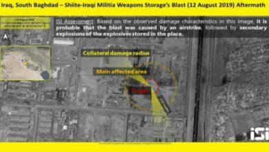 Photo of أقمار صناعية إسرائيلية تنشر صورة لمعسكر صقر ببغداد بعد انفجار مخزن للعتاد فيه